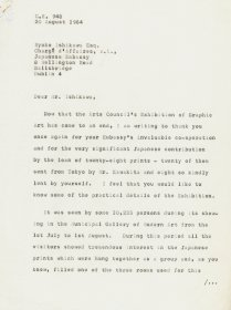 Letter from Speer Ogle, the Arts Council to Ryoko Ishikawa, Embassy of Japan. (Page 1 of 3)